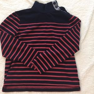 J. Crew Navy & coral sweatshirt, striped collar, S